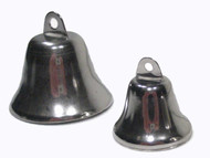 The two sizes of stainless steel liberty bells shown together