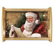 Santa Natural Wood Finished Serving Tray