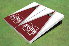 """Mississippi State University """"M"""" Maroon And White Matching Triangle Cornhole Boards"""