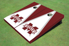 """Mississippi State University """"M"""" White And Maroon Matching Triangle Cornhole Boards"""