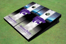 Kansas State University Wildcats Word Mark Field Long Strip Matching White Themed Cornhole Boards