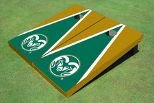 Colorado State University Rams Logo Green And Gold Matching Triangle Cornhole Boards