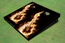Flaming Guitar Themed Cornhole Boards