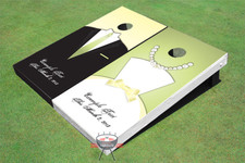 Tux and Dress Wedding Themed Cornhole Boards