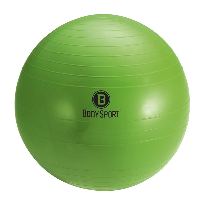 "BODY SPORT 55 CM (BODY HEIGHT 5'1"" - 5'6"") ANTI-BURST FITNESS BALL (EXERCISE BALL), GREEN"