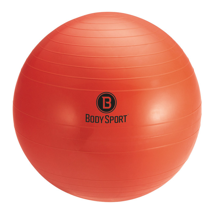 "BODY SPORT 75 CM (BODY HEIGHT 6'2"" - 6'8"") ANTI-BURST FITNESS BALL (EXERCISE BALL), RED"