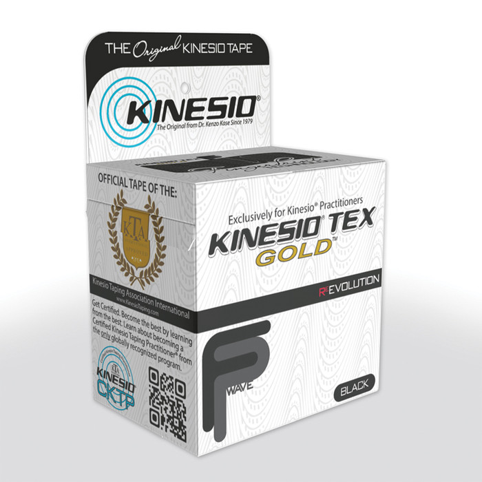 "KINESIO TAPE TEX GOLD FP, 2"" X 16.4', BLACK"