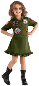 Top Gun Flight Dress Airforce Girl's Costume