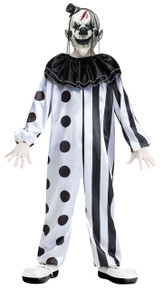 Killer Clown Kids Black & White Costume with Mask