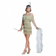 Champagne Flapper Dress with Sequin Trim and Headpiece (82017)
