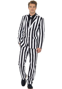 Humbug Suit, Pant, Tie Black and White Stripped