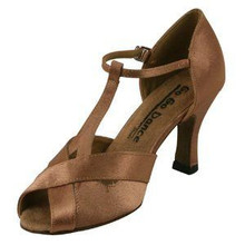 "Tan Satin Ballroom Shoe 2.5"" Heel"
