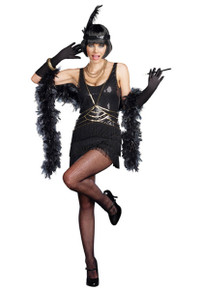 20's Ain't Misbehavin' Black & Gold Flapper Dress