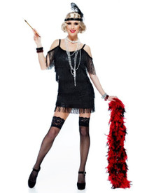 20's Manhattan Flapper Plus Size Dress w/ Sequin Trim & Headpiece