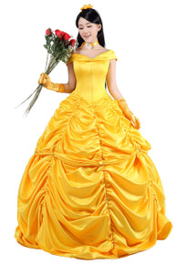 Deluxe Yellow Belle Dress w/ Hoop Crinoline