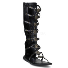 Black Men's Roman Gladiator Sandal with Calf Straps