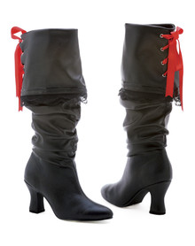 "2.5"" Heel Knee High Pirate Boot with Red Satin Ribbon"