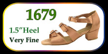 "Brown Satin 3 Buckle Ballroom Shoes w/ 1.5"" Heel"