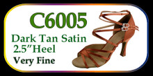 "Dark Tan Satin C-Series Salsa Shoe w/ 2.5"" Heel"