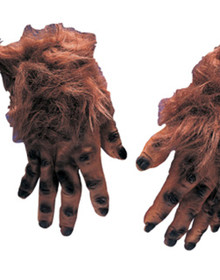 Brown Hairy Hands Monster Werewolf Gloves