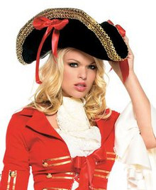 /ladies-black-pirate-hat-w-gold-trim-red-side-ribbons/