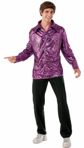 Disco Dude Shirt Metallic Lame Look