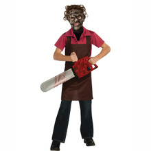 Leatherface Kids Licensed Apron Shirt & Mask Costume Texas Chainsaw Massacre