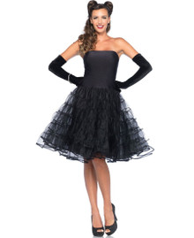 Black Rockabilly Swing Dress w/ Tulle Skirt (85481BLK)