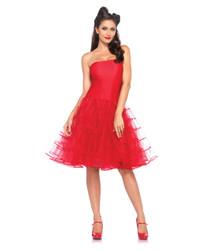 Red Rockabilly Swing Dress w/ Tulle Skirt