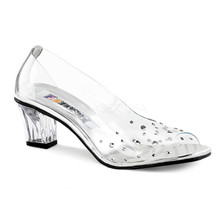 "2"" Heel Peep Toe Clear Shoe with Rhinestones on Vamp and Heel"