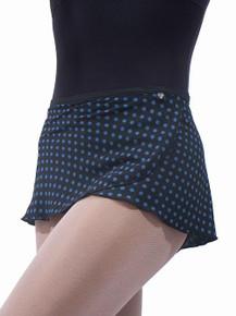 Black w/ Blue Polka Dots Wrap Skirt (WS82)