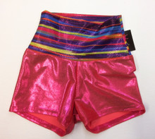 BP Designs Metallic Coral Rainbow Banded Highwaisted Gymnastics Shorts