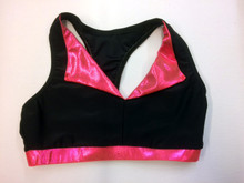 BP Designs Black & Coral Mistique Collared Racer Bra Top
