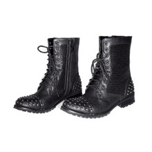 Adult Studded Sequin Black Combat Boots for Dance