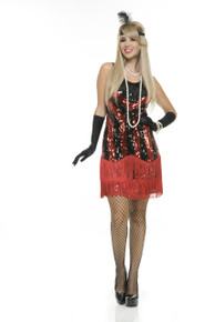 20's Flapper Black & Red Fringed Sequin Dress (02946CHA)