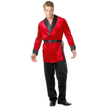 Men's Satin Black & Red Smoking Jacket