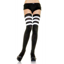 Athletic Style Striped Thigh Hi Socks