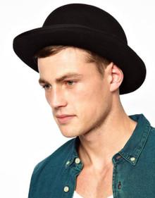 Deluxe Black Felt Derby Bowler Hat