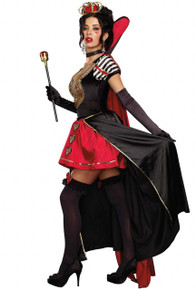 Queen of Hearts Velvet & Satin Dress w/ Choker & Crown