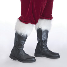 Professional Santa Boots with White Fur Top Cuff Zipper Side