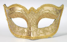 Venetian Mask Mardi Gras Glasses Style Gold with Glitter