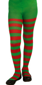 Red & Green Striped Tights Kids