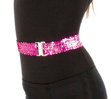 "Stretchy 2"" Wide Sequin Belt Assorted Colors"
