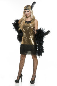 20's Gold & Black Sequin Flapper