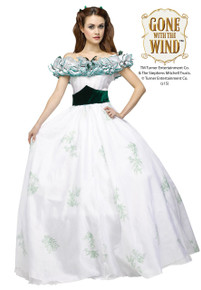 Gone with the Wind  Scarlett O' Hara White Southern Belle Adult Ladies Dress (104104)