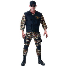 Seal Team Deluxe Camo Jumpsuit w/Black Vest and Accessories