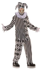 Evil Harlequin Two Tone, Printed Tunic w/ Ragged Cuffs, Pants with Ragged Cuffs, Collar & Hat