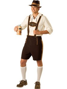 Bavarian Guy Men's Lederhosen w/ Shirt, Hat & Knee Socks