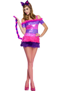 Cheshire Kitten - Metallic & Fur Dress w/Attached Tail & Cat Headband