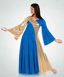 Plus Size Asymmetrical Two-Toned Bell Dress (592XX)